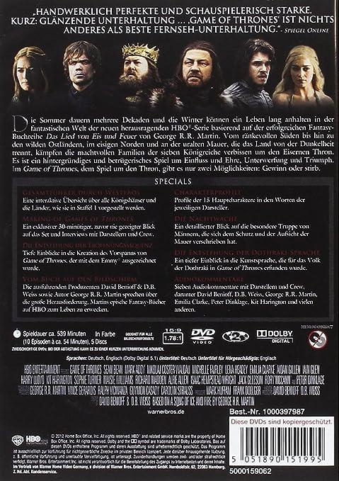 Game of Thrones - Die komplette erste Staffel Alemania DVD: Amazon.es: Sean Bean, Mark Addy, Nikolaj Coster-Waldau, Michelle Fairley, Lena Headey, ...