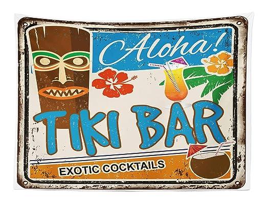 ABAKUHAUS Bar Tiki Tapiz de Pared y Cubrecama Suave, Cartel Vintage Añejado Aloha Tragos Exóticos y Coco Bebidas Antiguo Nostálgico, Resistente a la ...