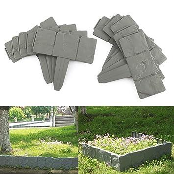 10 x Grau Beeteinfassung Beetumrandung Mähkante Rasenkante Palisade Garten