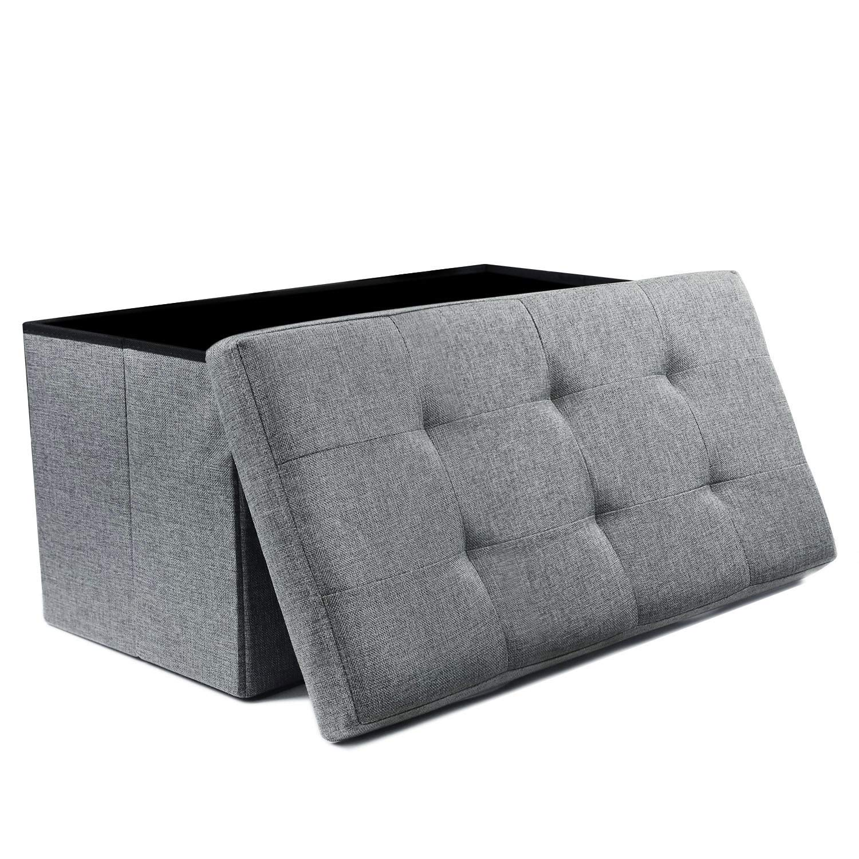 "NISUNS OT03 Linen Fabric Folding Storage Ottoman Space Saving Storage Bench Toy Chest, Large Size 30"", Gray"
