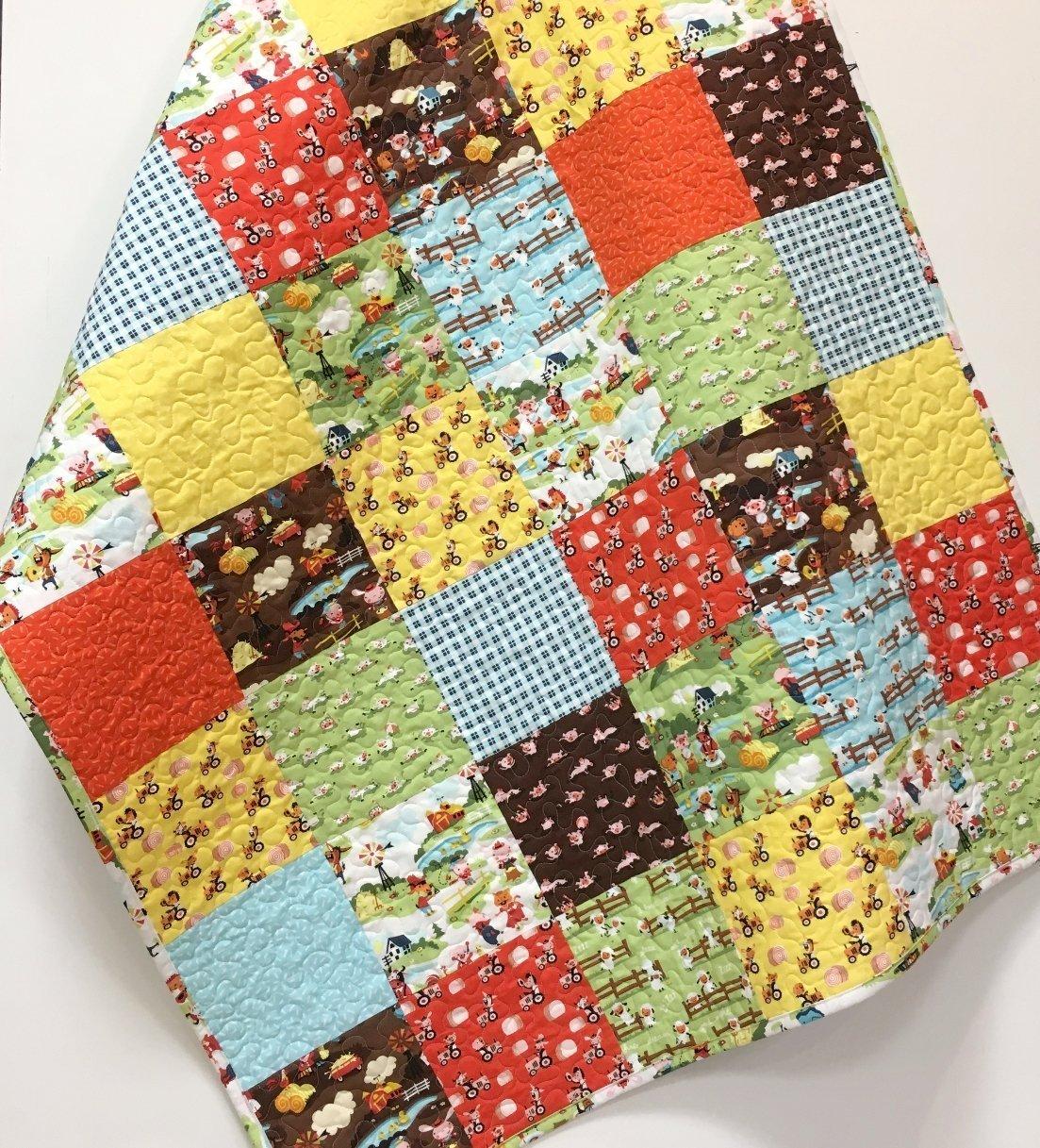 Farm Boy Baby Quilt Country Nursery Crib Bedding Patchwork Handmade