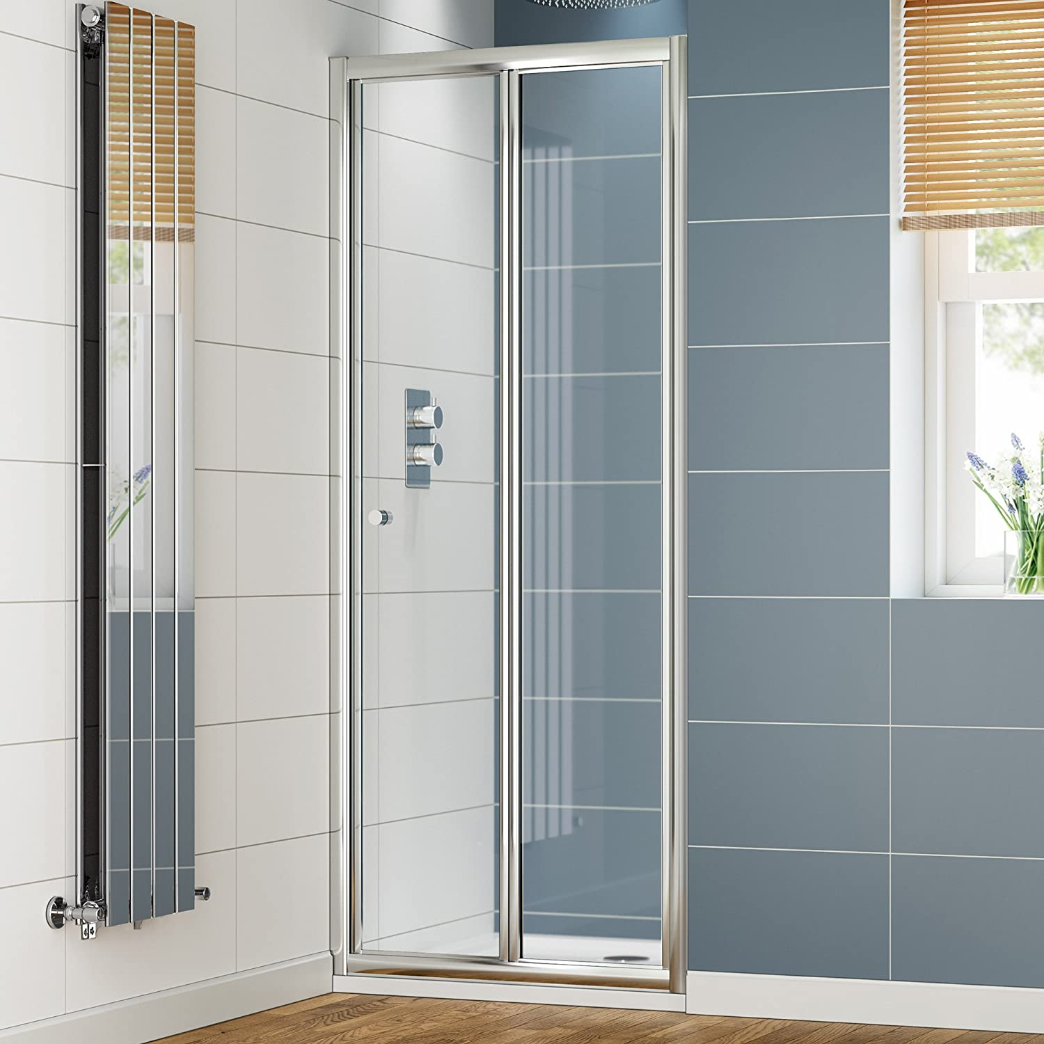 iBathUK 800 x 800 Bifold Glass Shower Enclosure Reversible Folding ...