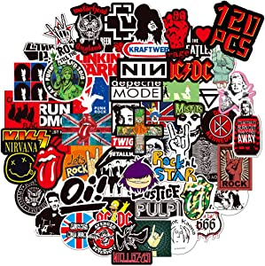 Band Stickers, Bibonse 120PCS Rock Roll Music Decals Waterproof Vinyl Stickers for Kids Teens Home School Decor Guitar Water Bottle Computer Skateboard Walls Window and More