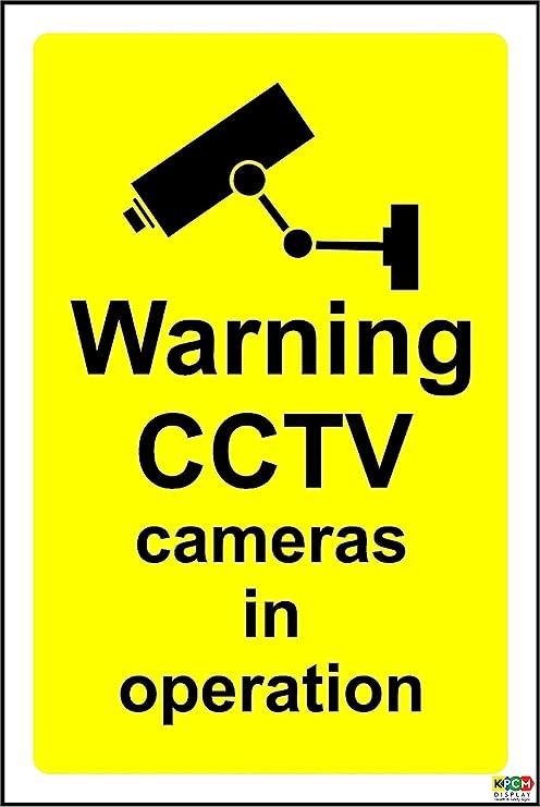 Señal de seguridad autoadhesiva con texto en inglés de advertencia de cámaras de seguridad grabando,