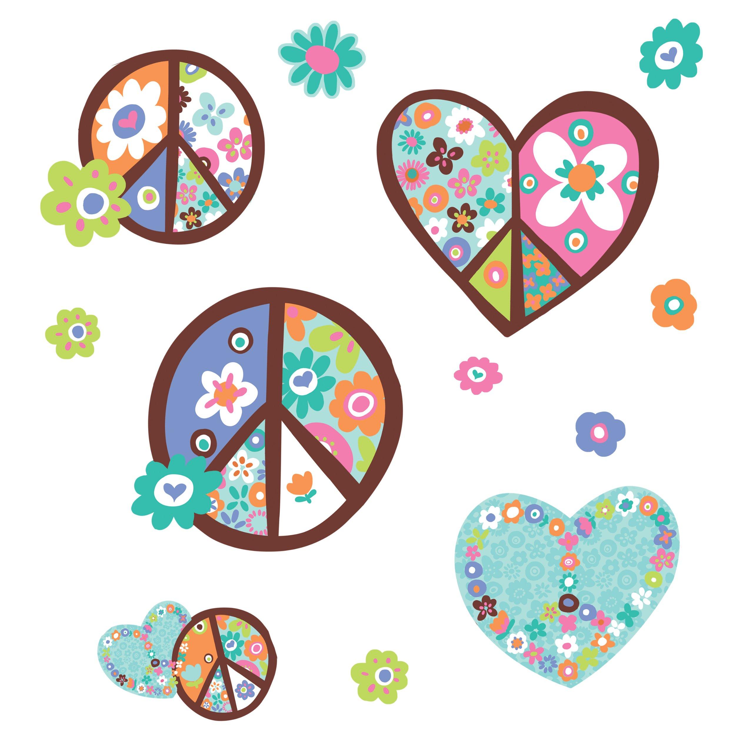 Vinilo Decorativo Pared  simbolo corazones flores paz