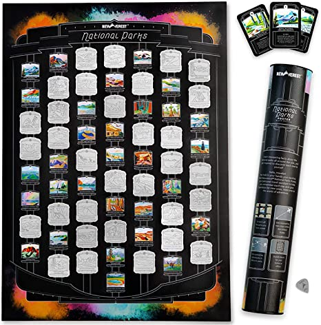 Fits 17 x 24 Inch Frames Microfiber Cloth and Gift Tube Detailed National Parks Map with Hand-Painted Images Scratch Tool Newverest US National Parks Scratch-off Poster Includes 62 Info Cards