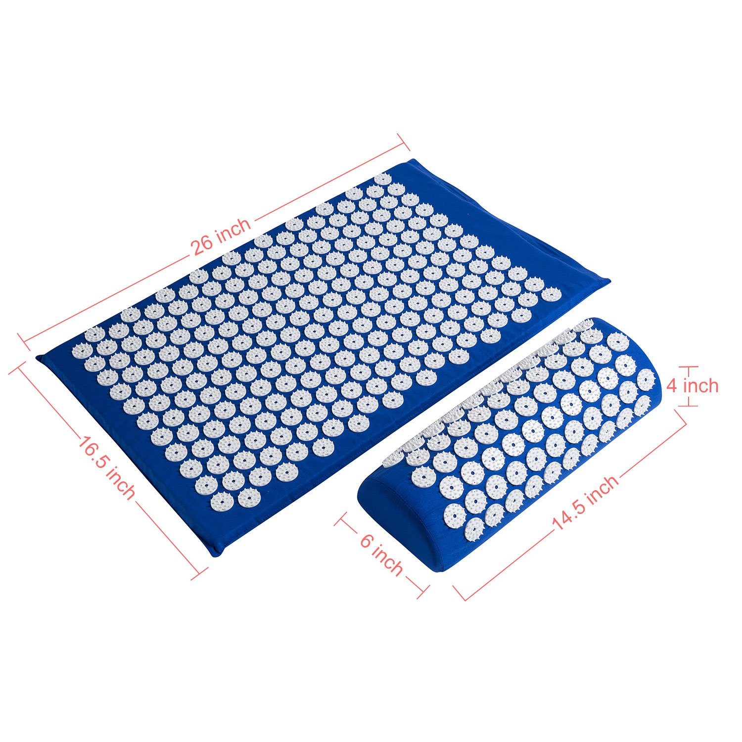 Acupressure Mat,Bed Grounding Mat Acupuncture Needles Back and Neck Pain Relief for Yoga and Travel,Relieves Stress,Lower Back Pain Relief (Blue) by Aquapro (Image #7)