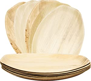 6 Palm Leaf Disposable Platters, Biodegradable Eco Friendly Bamboo Wood Like Oval Serving Trays 15 x 10 Inches Paper and Plastic Alternative