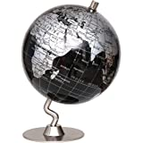 REGINA WORKS テーブル 地球儀 クラッシック 英語表記 世界地図 インテリア お洒落 小型 スモールサイズ 14cm シルバー/ブラック
