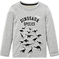 HowJoJo Boys Cotton Long Sleeve T-Shirts T Rex Dinosaur Shirt Graphic Tees