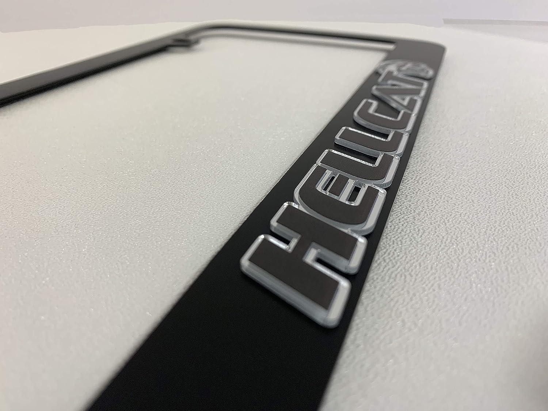 Eurosport Daytona Black License Plate Frame UV Direct Black on Mirror Acrylic 2018 Hellcat Logo Word