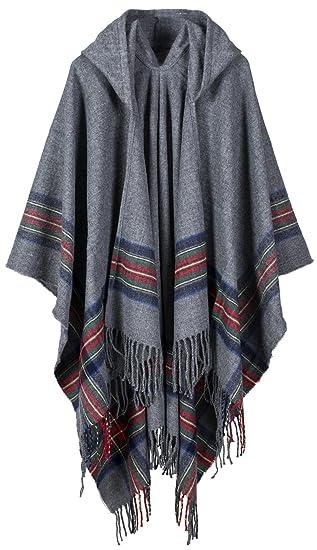 e618e12b782 Mochoose Poncho et Cape à Capuche Tricot Châle Plaid Écharpe Couverture  Wrap Tartan Chaude Hiver pour Femme(Gris)  Amazon.fr  Vêtements et  accessoires