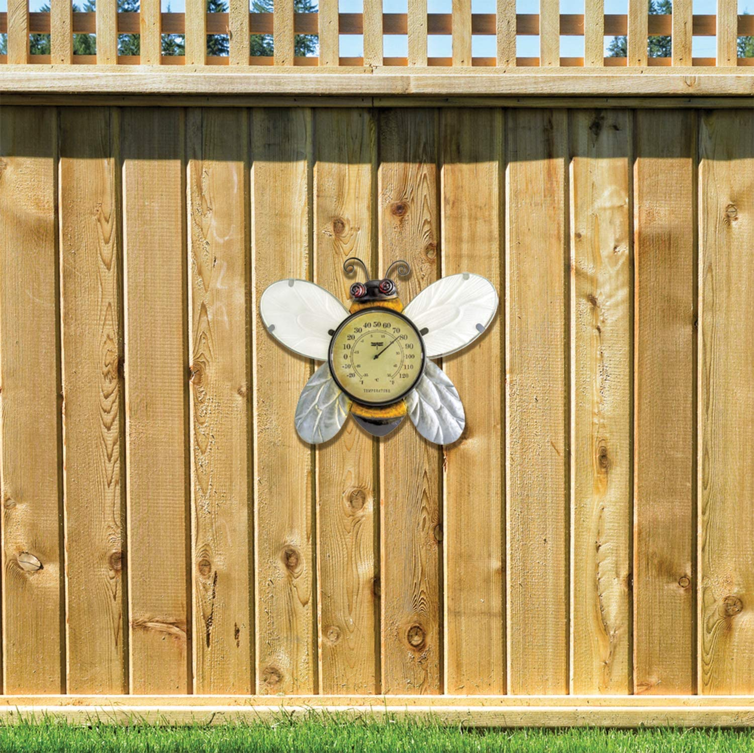 Poolmaster 54579 Bumble Bee Wall Décor and Thermometer for Home or Garden, Yellow