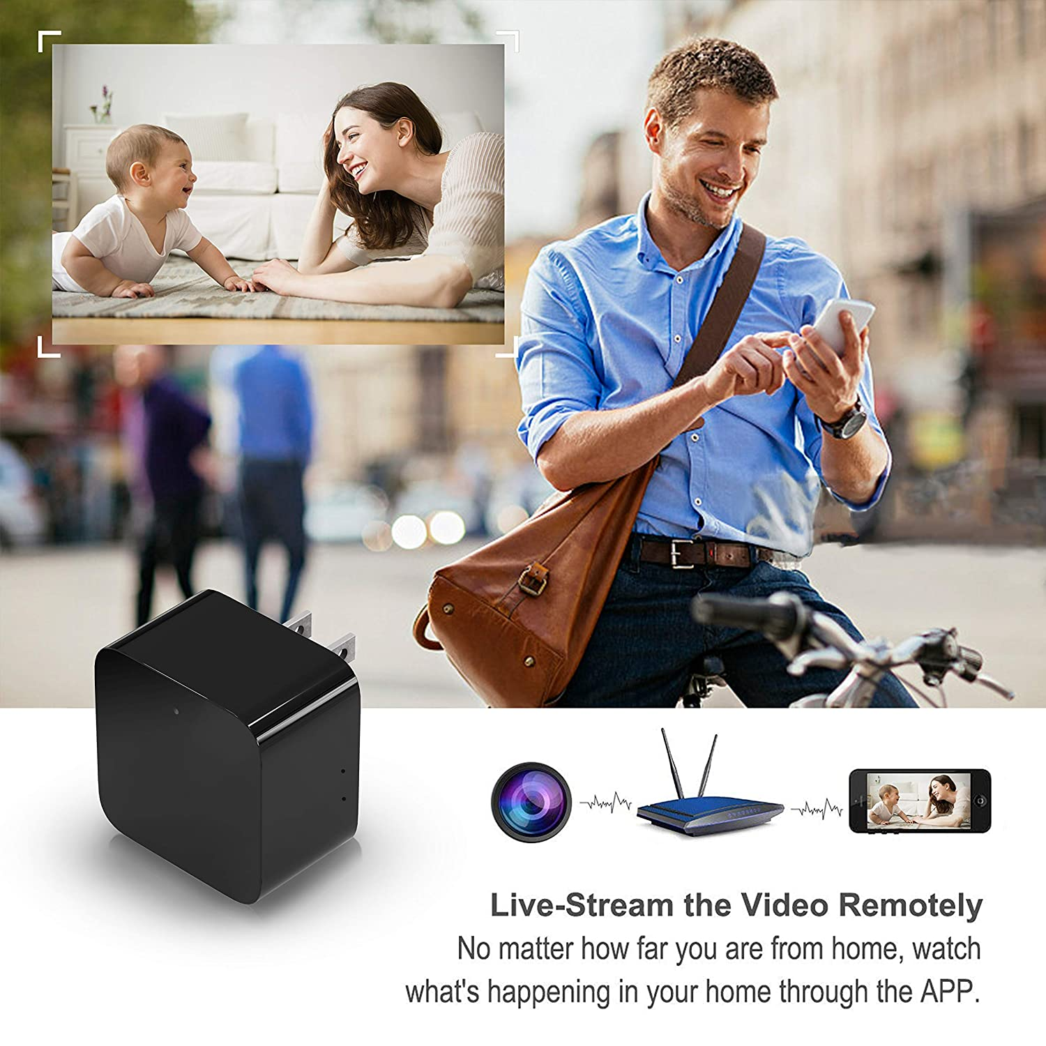 Spy Camera Wireless Hidden, 2019 Upgraded Version WiFi Camera 1080P HD Hidden Camera Wall Charger Nanny Cam with Remote Viewing Motion Detection for Home, Office, Store – White
