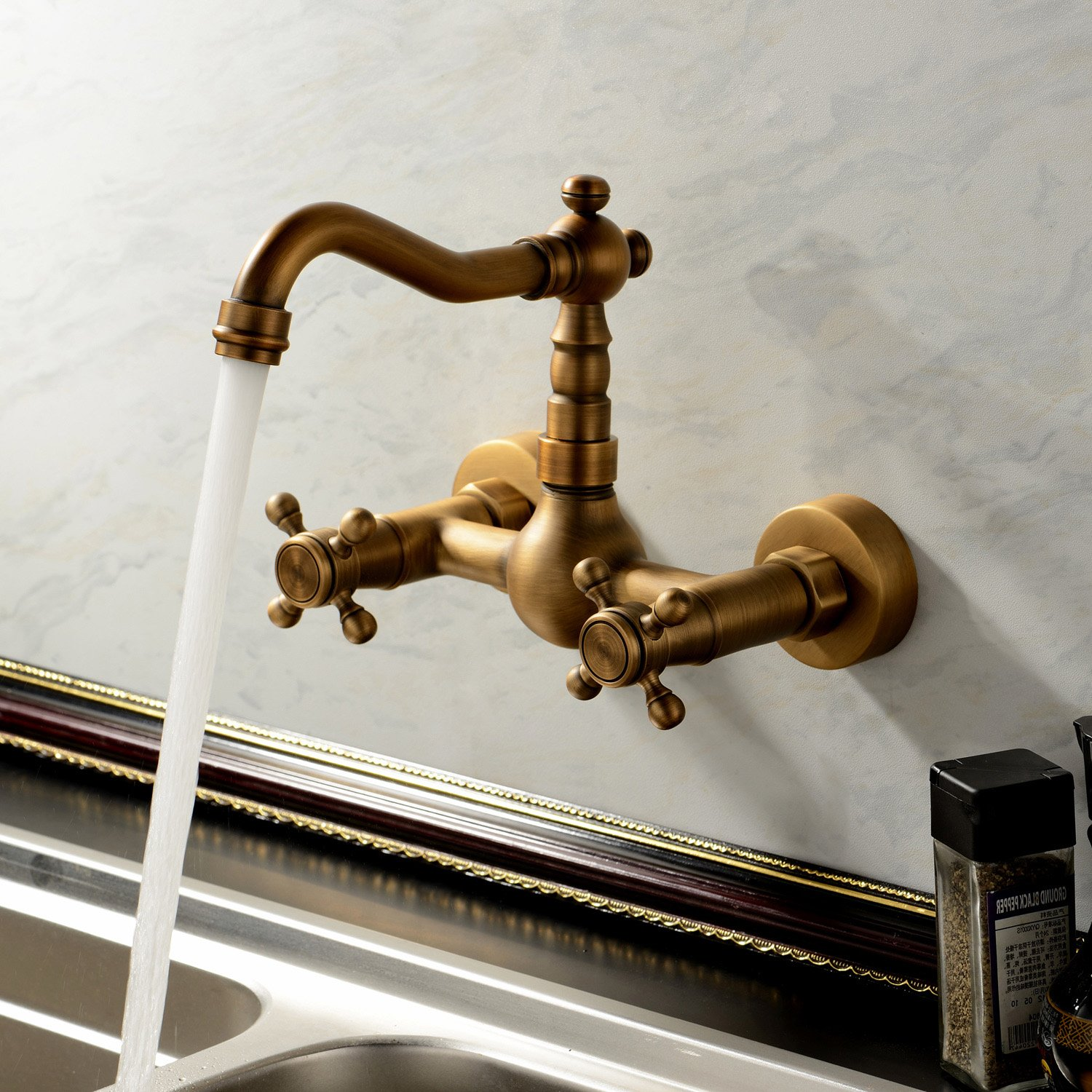 Sprinkle Antique Inspired Solid Brass Kitchen Faucet Wall Mount ...