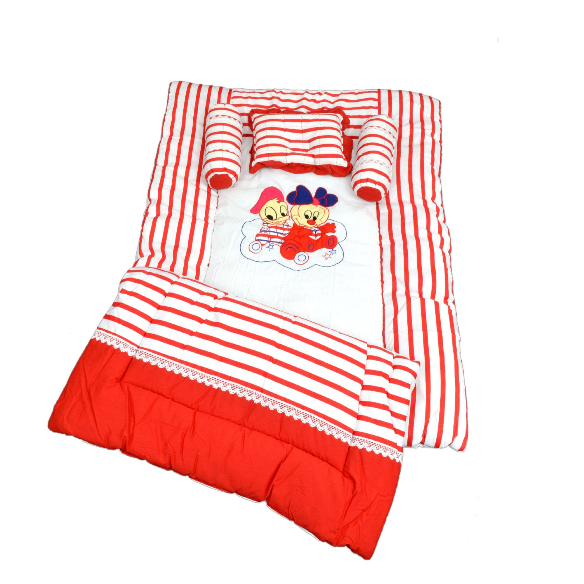 Maple Krafts Pure Cotton Baby Bedding set upto 24 months Red with Pillow