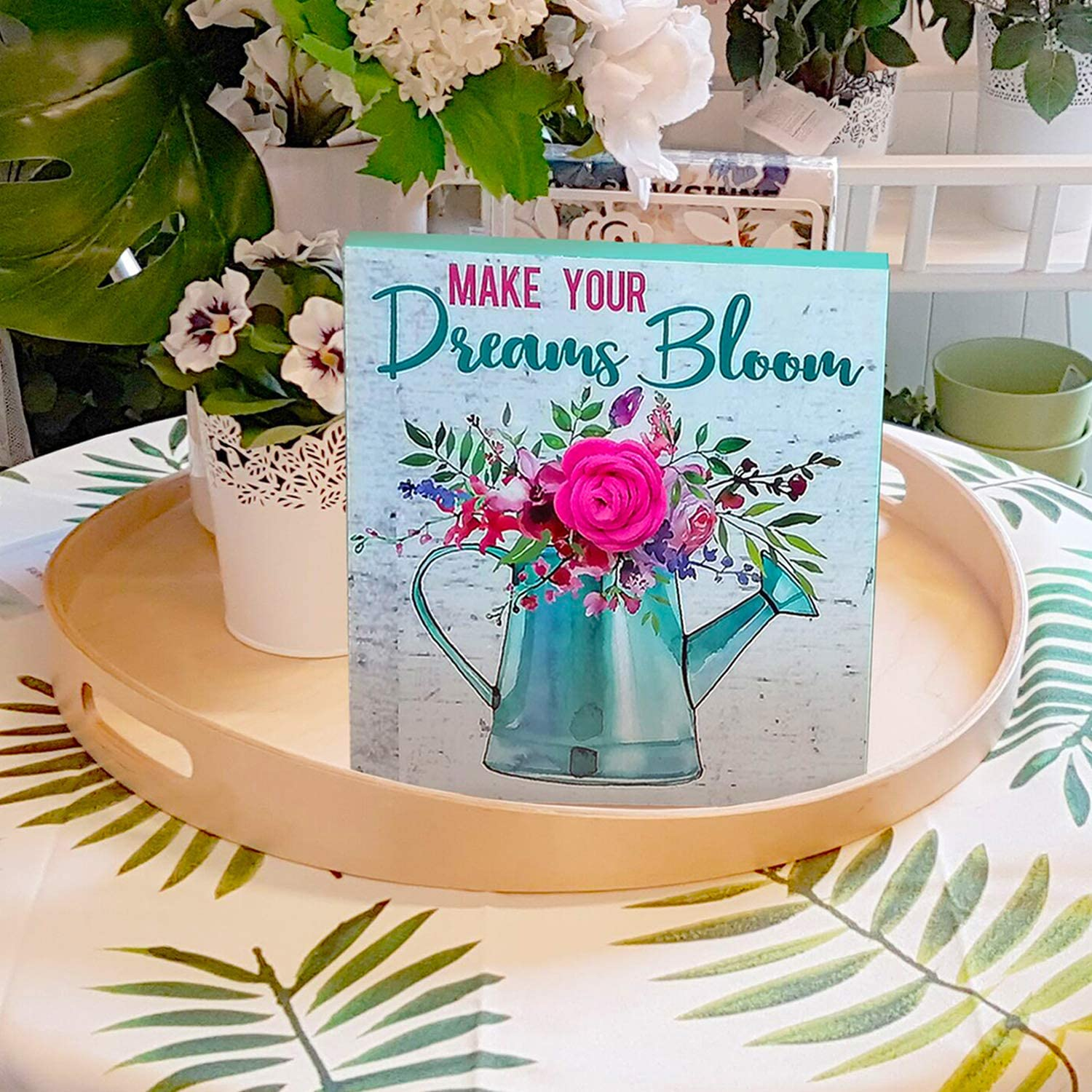 Spring Wood Block Plaque Box for Table shelf decoration,8 inch Rustic Wooden Tabletop Plank board Sign for Farmhouse coffeehouse Living Room,Make your Dreams Bloom (Green D)