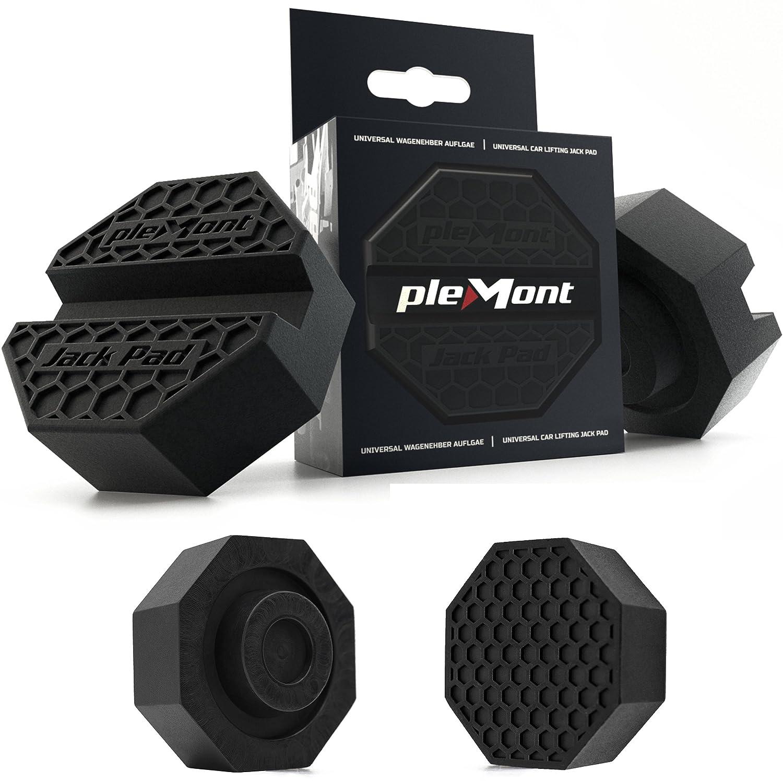 Plemont supporto di gomma per cric in 2 varianti Made in Europe, compatibile con tutti i cric e i telai delle auto