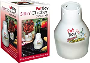 Ceramic Steamer Beer Can Roaster- Fat Boy Sittin' Chicken Marinade Barbecue Cooker- Extra Large Base for Sides Dishes and More