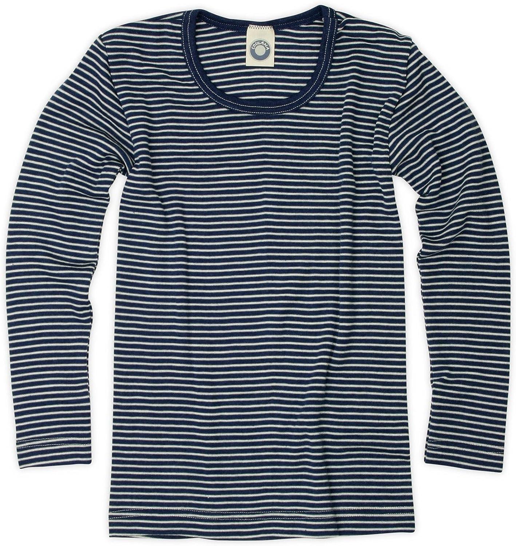 Cosilana Kinder Unterhemd Gr/ö/ße 128 in geringelt Marine-Natur Verkauf von Wollbody