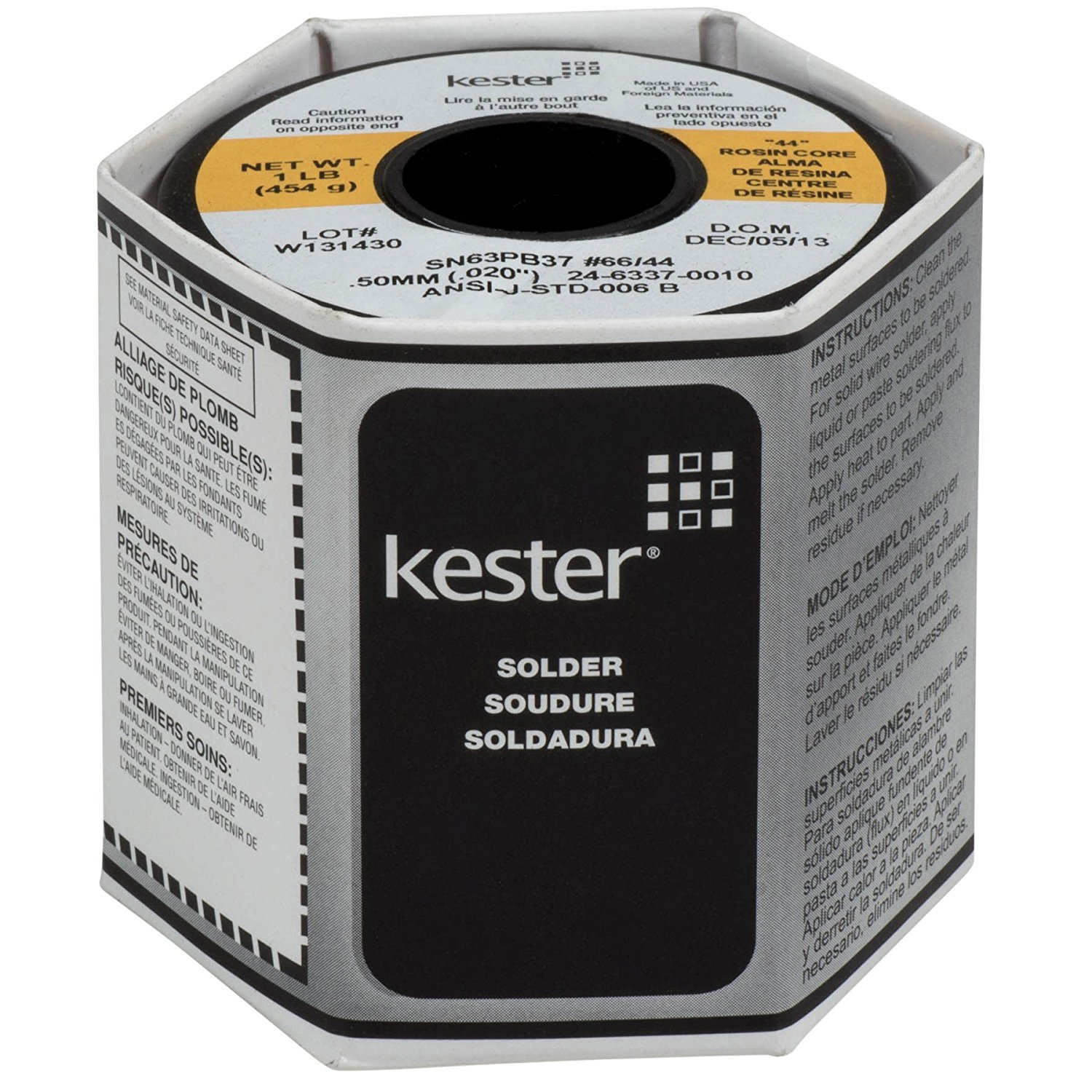 Kester 24-6337-0010 44 Rosin Core Solder 63/37 .020 1 lb. Spool by Kester