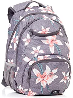 Roxy Shadow Swell Mochila Mediana, Mujer, Rosa/Gris (Charcoal Heather Flower Field