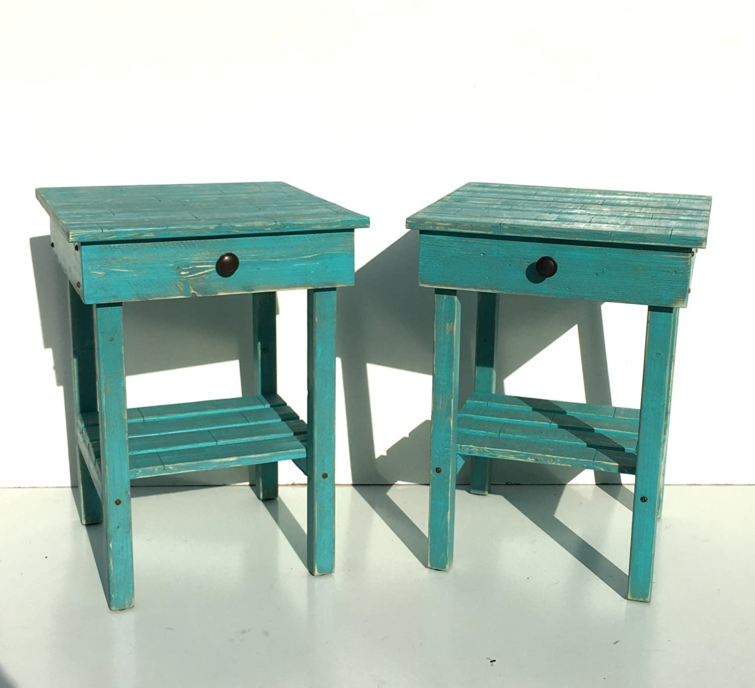 official photos a8b67 46ce1 Amazon.com: Night Stand Set With Drawer/Modern Farmhouse End ...