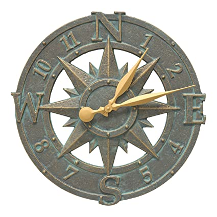 Amazon Com Whitehall Products Compass Rose Clock Bronze Verdi