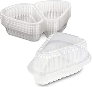 """Hinged""""Extra Small"""" Plastic Pie,Cheesecake, Cake Slice Container for Small Pies and Cakes by MT Products - Pack of 20"""