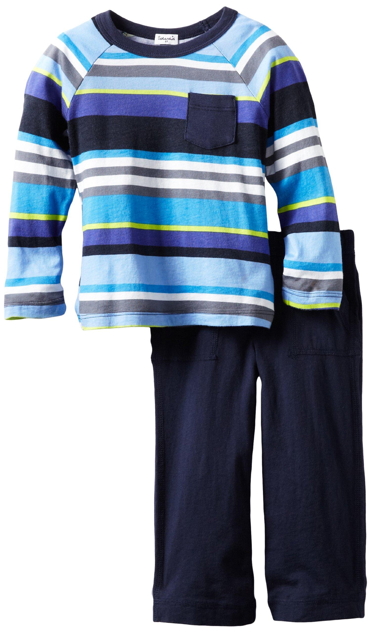 Splendid Littles Little Boys' Pensacola Stripe Raglan Set, Wave Jumper, 2T