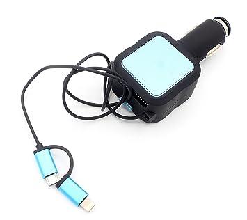 LoongGate 4 en 1 [Micro USB + Iluminación + 2 USB] Cargador para coche, cable retráctil integrado Adaptador de alimentación inteligente para iPhone X ...