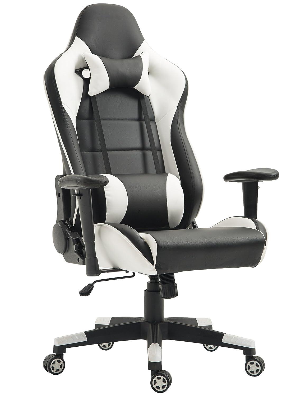 Tiigo Schreibtischstuhl Gaming Stuhl Kunstleder Chefsessel Computer Spiel Stuhl Bürostuhl (Schwarz Weiß)