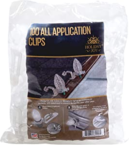 Holiday Joy - 100 Professional Grade All Applications Christmas Lights Clips - Hang C9, C7, Icicle, Mini Lights on Roof, Gutters, Shingles