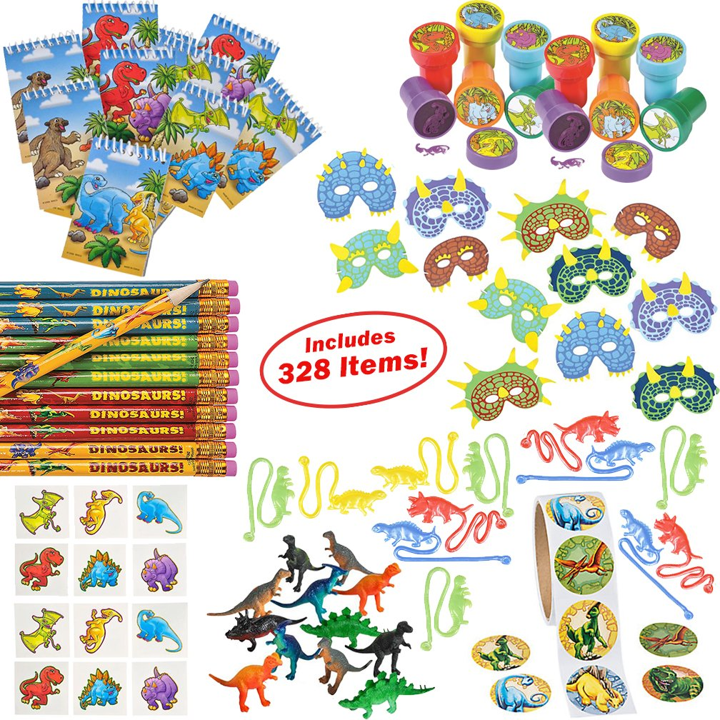Dinosaur Party Supplies for Boys Girls 328 Piece | Dinosaur Birthday Decorations and Kids Party Favors for 12 Children | Toys, Stickers, Figures, Masks, Tattoos, Stampers | Mr. E=mc² Birthday Supplies