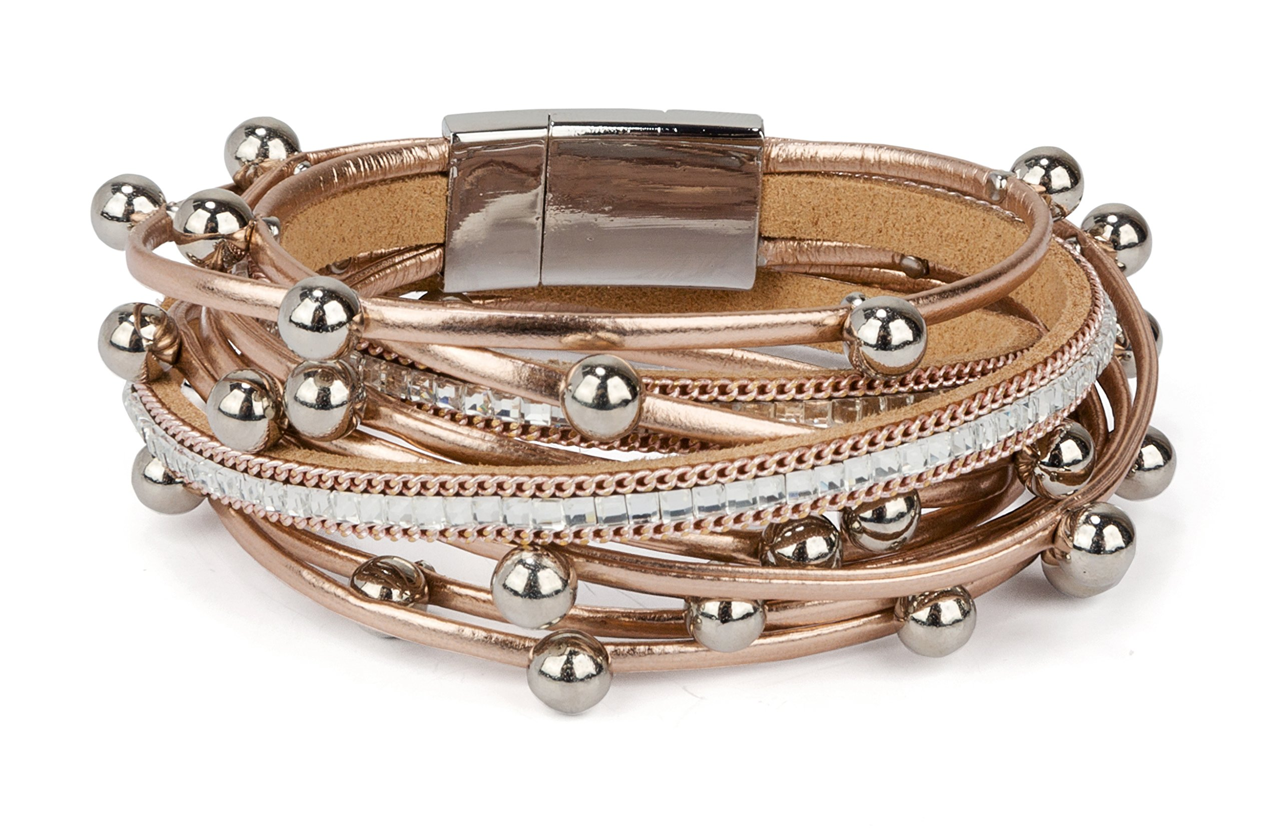 SPUNKYsoul New! Classy Bracelet Multi Strand in Champagne Rose Gold with Rhinestones, Orbs & Magnet Clasp for Women Collection