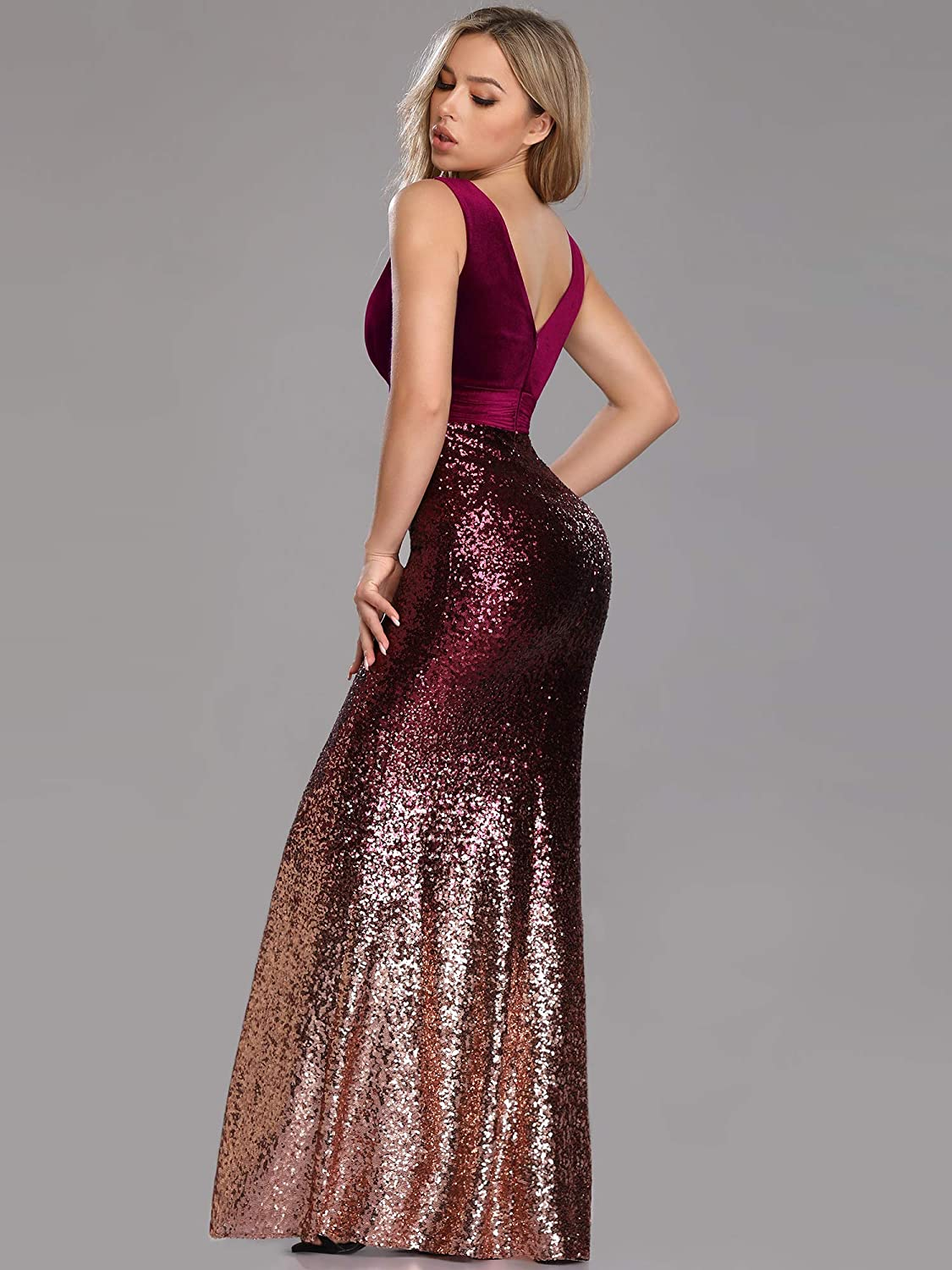 0cb9f22d5a6 Ever-Pretty Women Sparkling Gradual Champagne Gold Sequin Mermaid Cap  Sleeves Evening Dress Prom Dress 08999 at Amazon Women s Clothing store