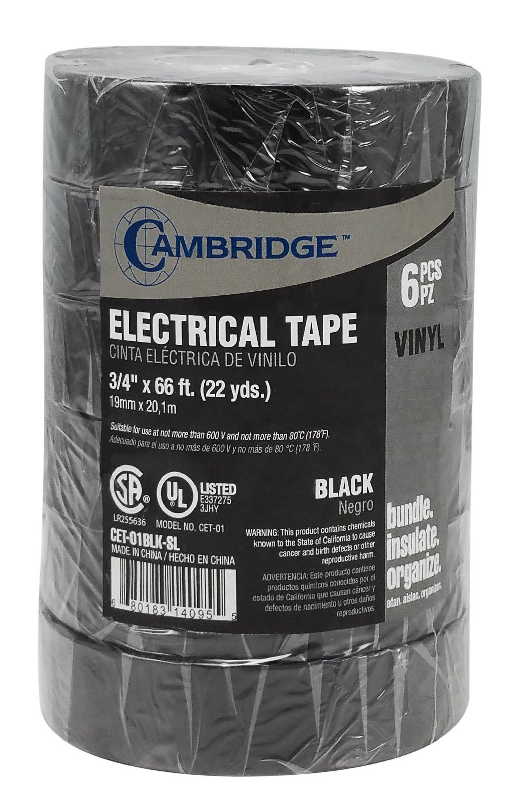 Cambridge Electrical Tape. MEGA PACK, 6 Rolls Black 3/4 Inch By 66 Feet Per Roll Plus 5 Rolls Assorted Colors 1/2 Inch By 20 Feet Per Roll, Professional Grade by Cambridge (Image #3)
