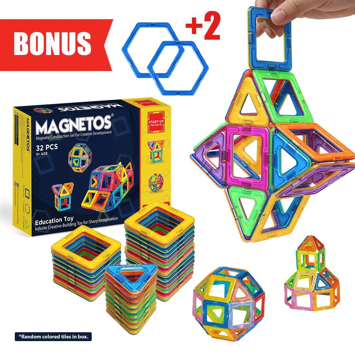 Magnetic Blocks Building Set for Kids, 30+2 Pcs Educational Toys for Boys & Girls, FREE Booklet, Learning Construction Game, Best Christmas Birthday Gift & Preschool Indoor Toy for Childrens Review