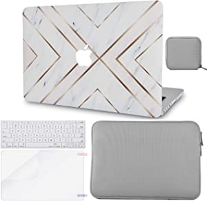 "LuvCase 5in1 Laptop Case for MacBook Pro 13""(2020) with Touch Bar A2251/A2289 Hard Shell Cover, Slim Sleeve, Pouch, Keyboard Cover & Screen Protector (White Marble Gold Stripes)"