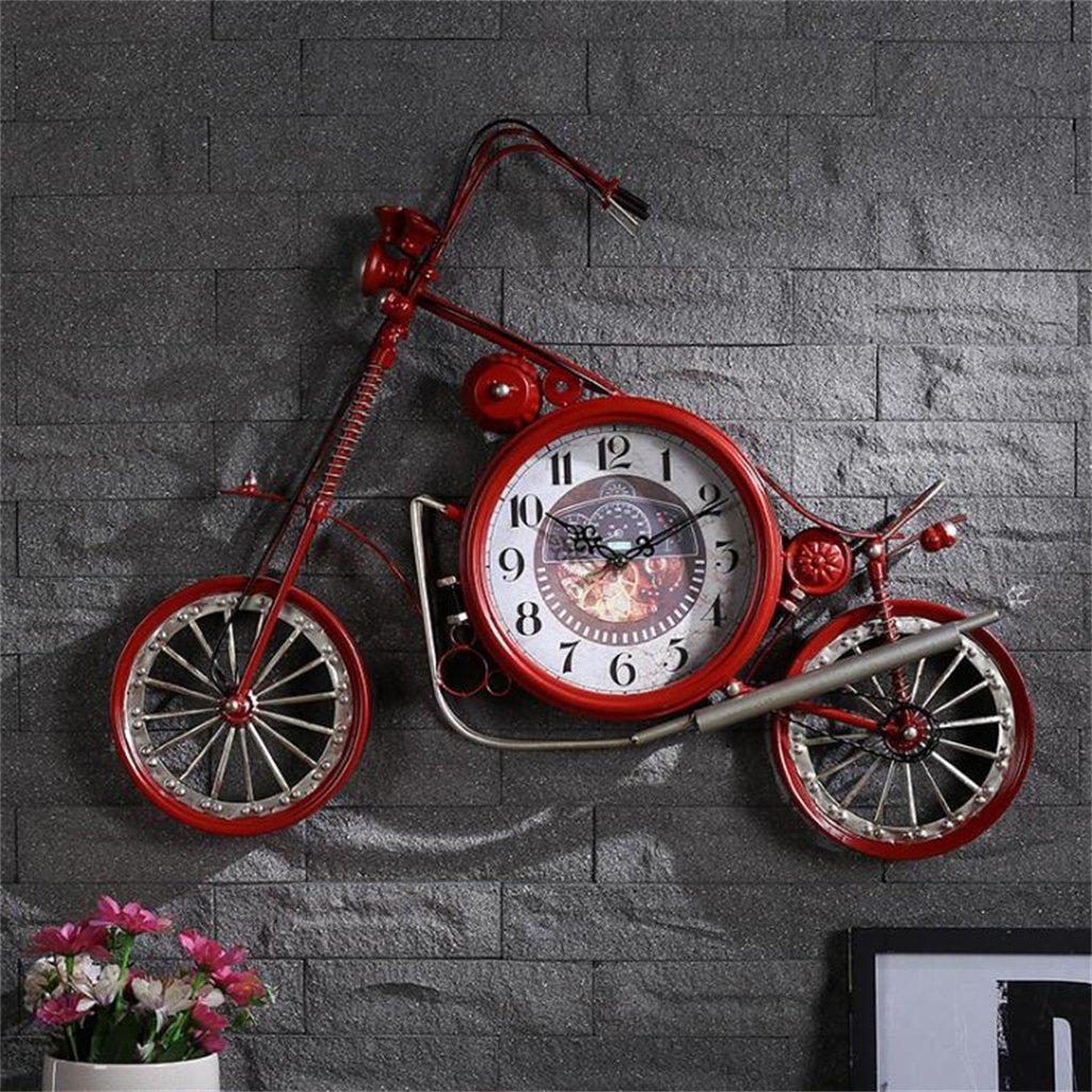 YF-Clock Kreative Persönlichkeit Eisen Handwerk Motorrad Mechanische Wanduhr Amerikanischen Stil LOFT Retro Mute Wanduhr Mode Dekorative Uhr Küche Wohnzimmer Büro Hotel (Farbe : Rot)