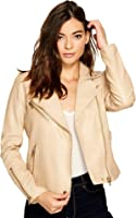 Blank NYC Womens Natural Vegan Leather Moto Jacket in Natural Light