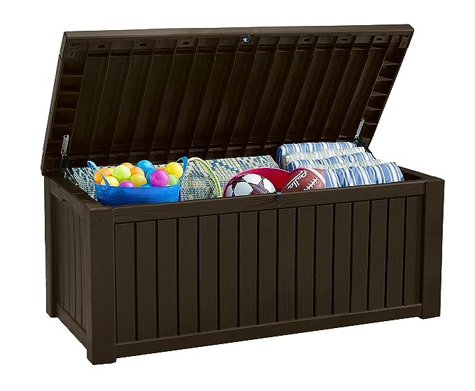 Keter - Arcón exterior Rockwood, Capacidad 570 litros, Color marrón