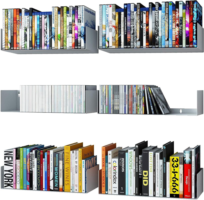 Amazon Com Wallniture Bali White Floating Shelves For Wall Cd Dvd Storage Shelves And Metal Bookshelf Set Of 6 Kitchen Dining