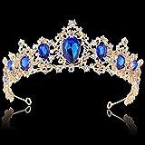 BABEYOND Crystal Queen Tiara Crown Rhinestones Pageant Quinceanera Crown Prom Princess Tiara Crown Bridal Wedding Crown Tiara Headband (A-Blue)