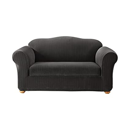 SureFit Stretch Pinstripe 2-Piece - Loveseat Slipcover - Black