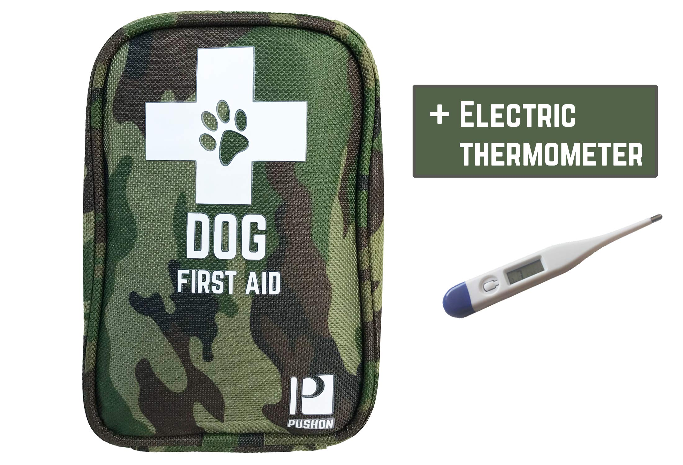 PushOn Premium Dog First Aid Kit - Pet Safety Supplies for Camping, Walks, Cycling, car and hikes - with Thermometer, and Emergency Blanket. Deluxe for Small and Large Dog