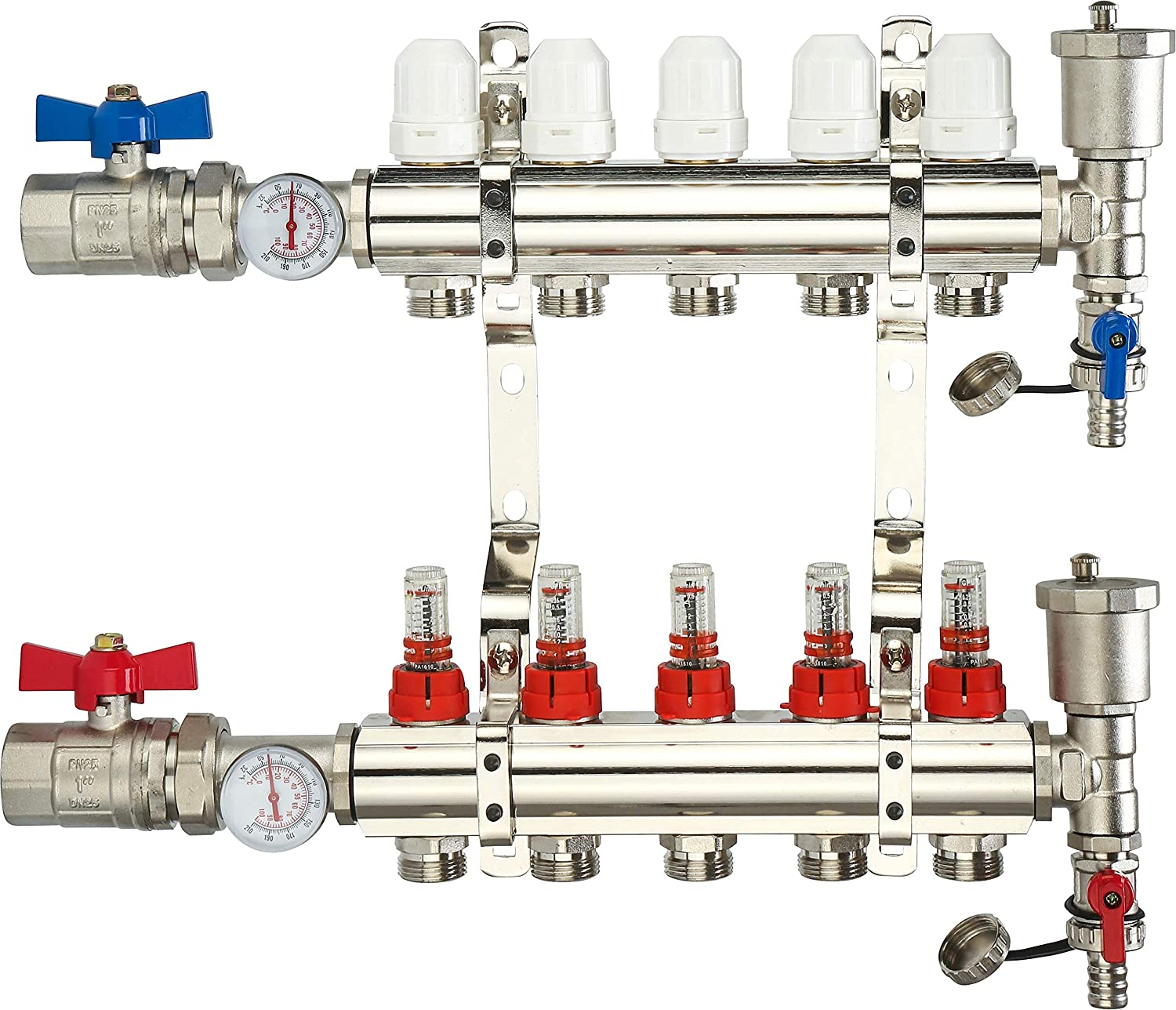 """5 Loop Radiant Heat Manifold, 5-zone PEX Tubing Manifolds with Compatible Outlets, for Hydronic Radiant Floor Heating (1/2"""" 3/4"""" PEX adapters sold separately)"""