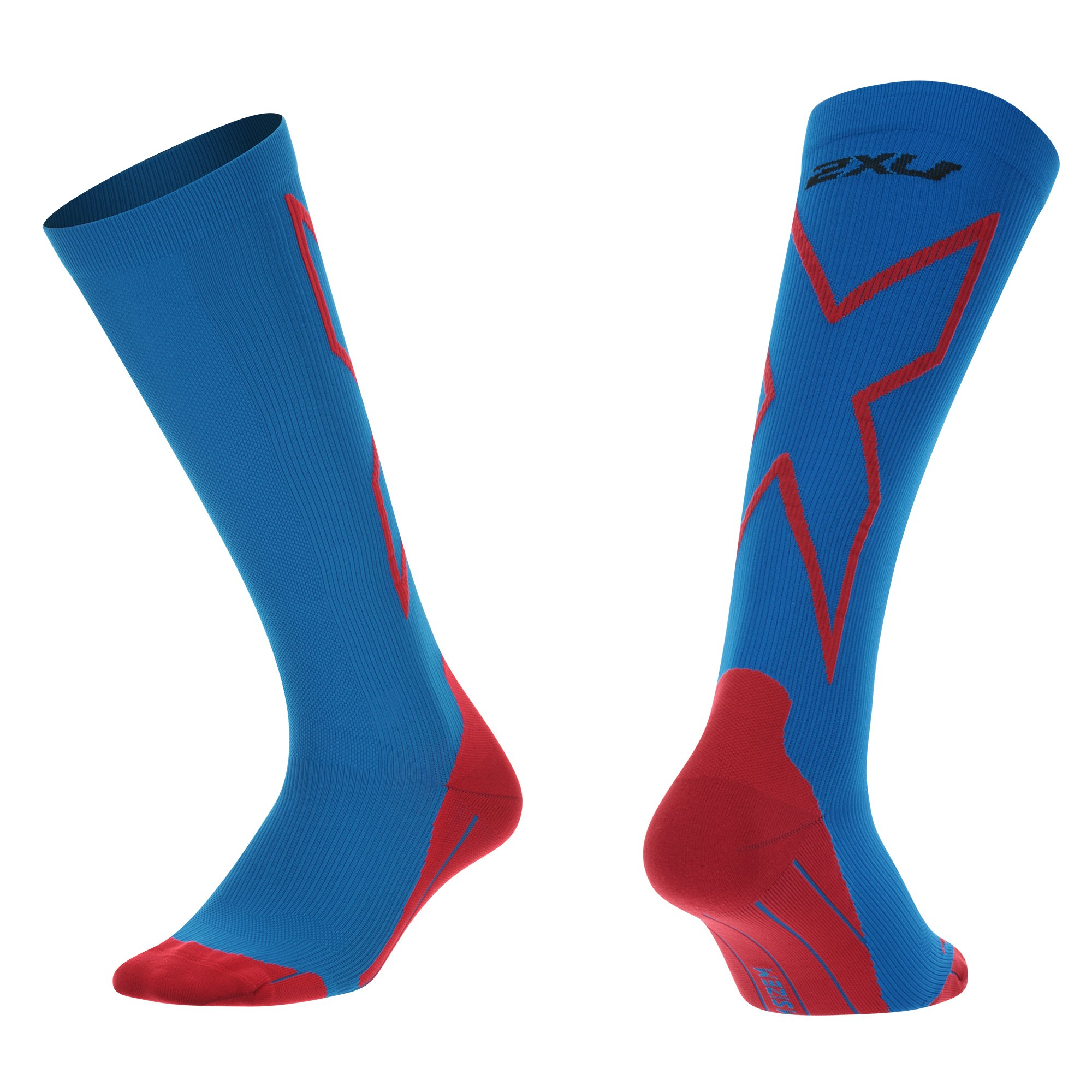 2XU Mens Compression performance X socks, Vibrant Blue/Red, X-Large
