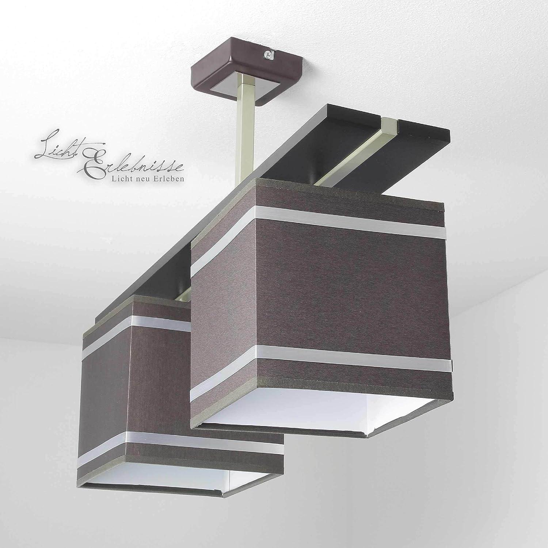 Lámpara de techo en marrón Chom Bauhaus Diseño 2x E27 hasta 60 Vatios 230V hecho de tela & Metal Cocina Comedor Lámparas Iluminación iluminación interior: Amazon.es: Iluminación