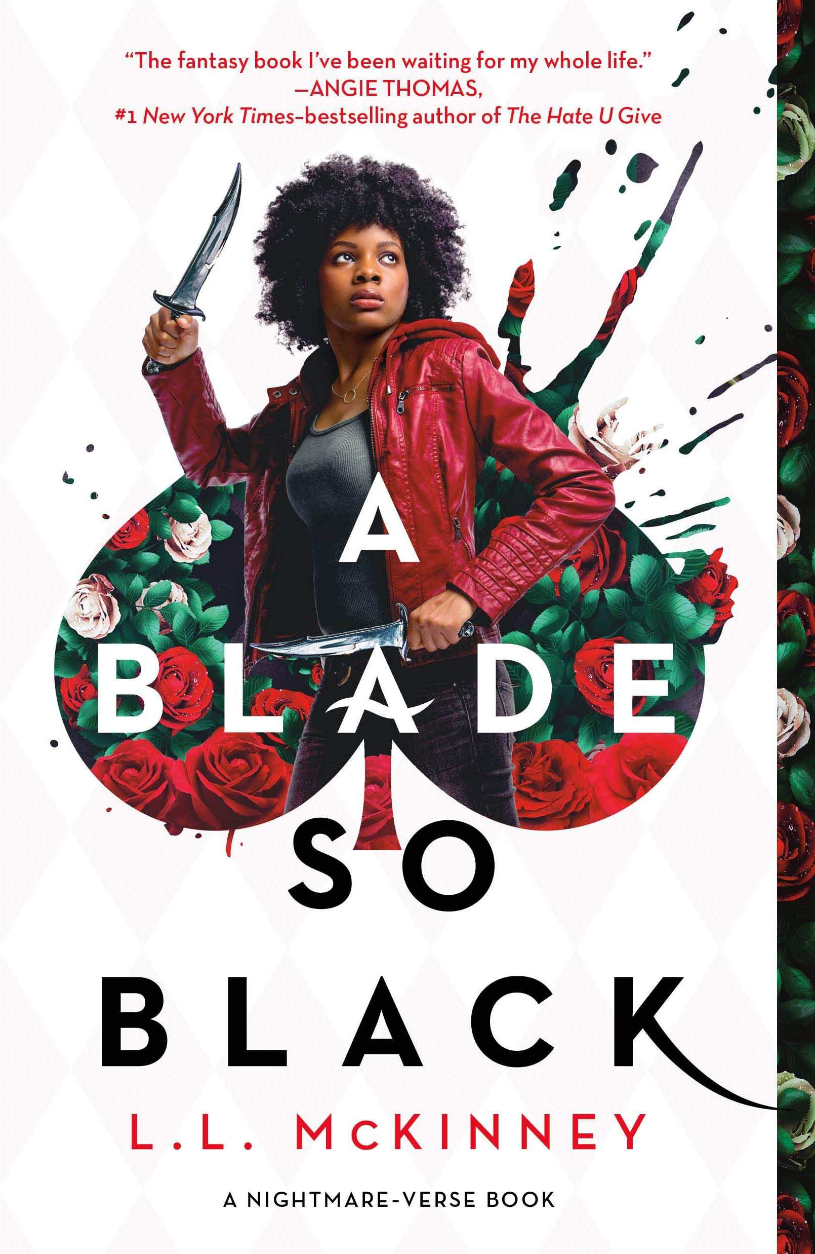 A young Black woman holding two knives erupts out of a spade made of roses